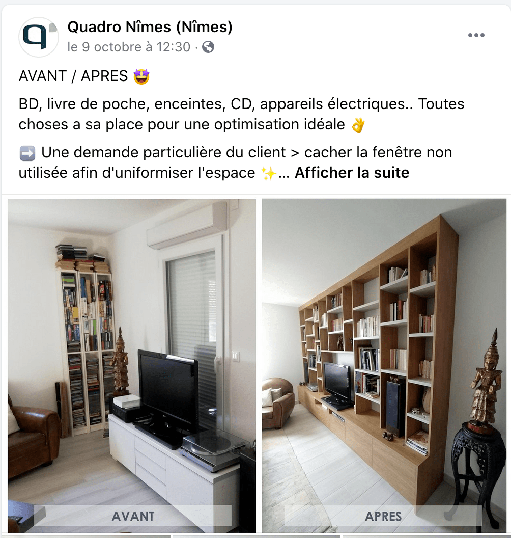 image avant apres quadro sur facebook - amenagement interieur - nov 2020 - solutions agencement